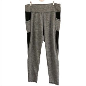 Leggings Gray And Black With Pockets 1X
